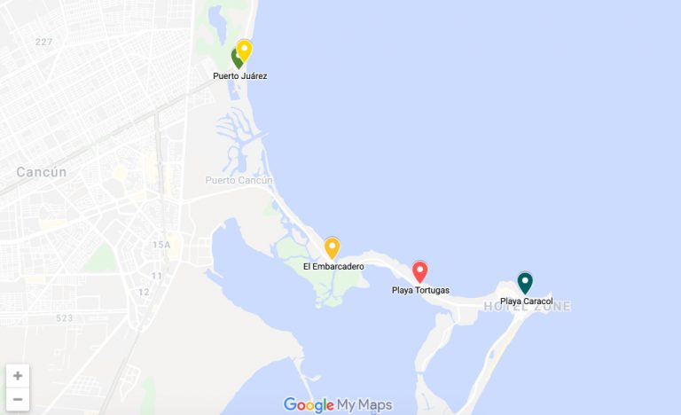 map of isla mujeres ferry terminals
