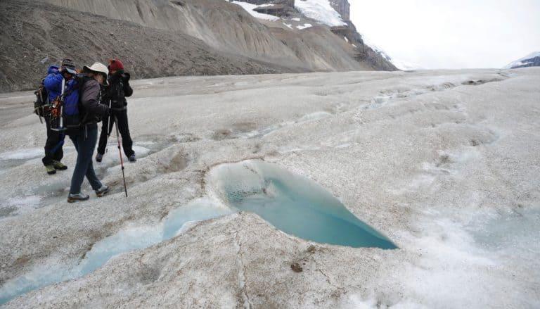 hiking at Athabasca Glacier