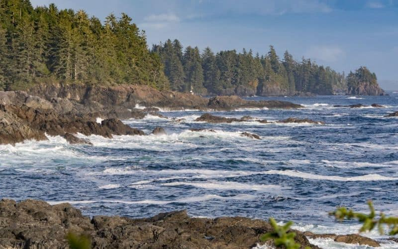 waves at ucluelet vancouver island bc