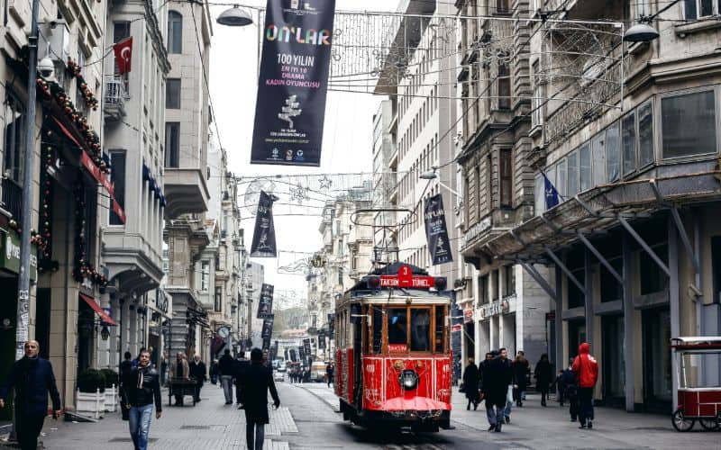 Istiklal Avenue red tram istanbul