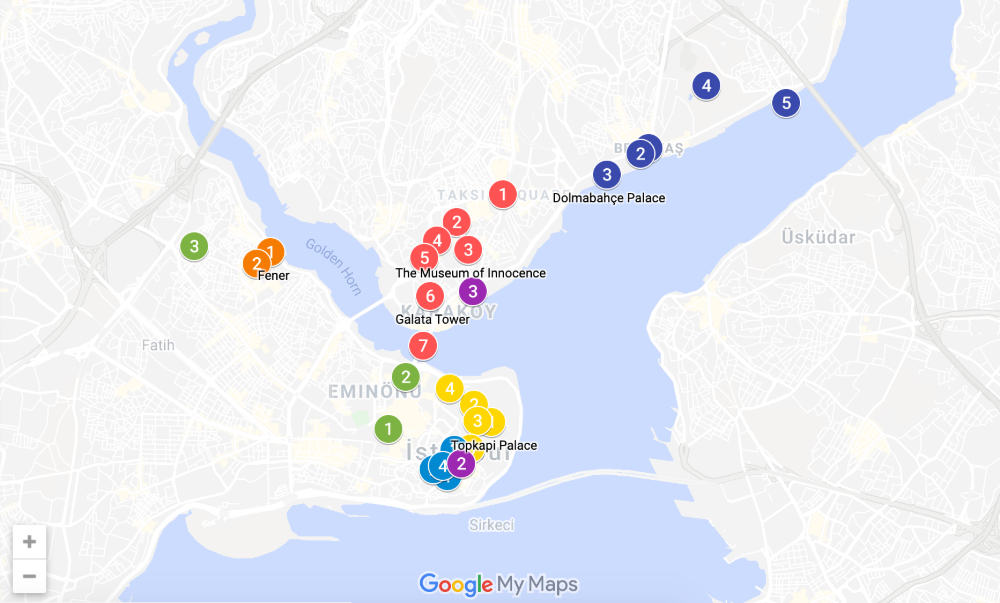 istanbul itinerary map