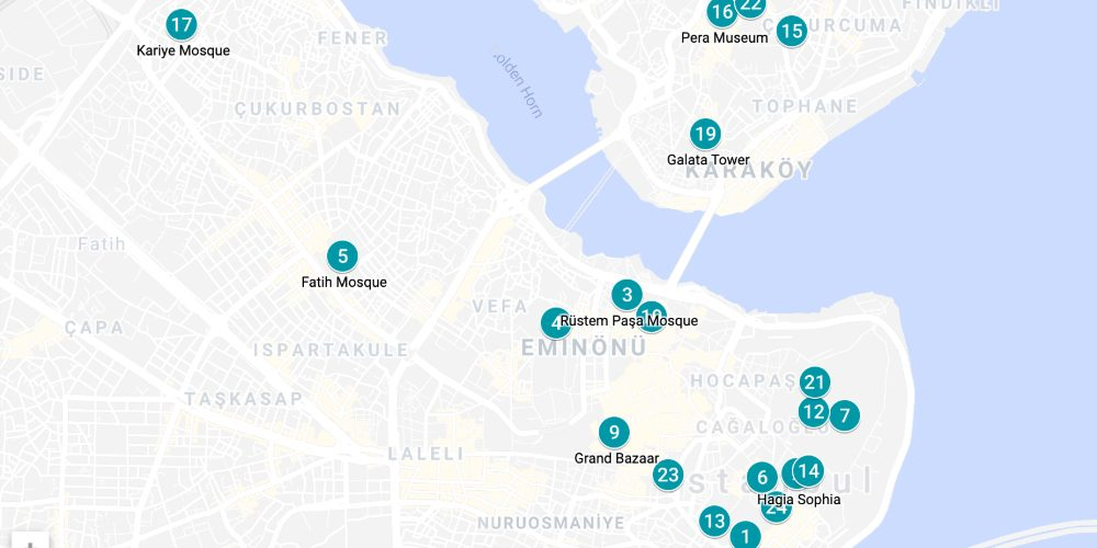 top places to visit in istanbul map