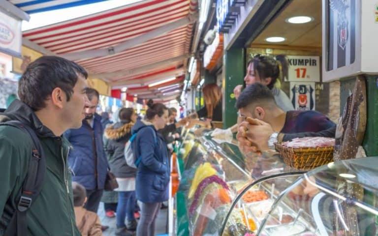 People at waffle shop Ortakoy Istanbul Turkey