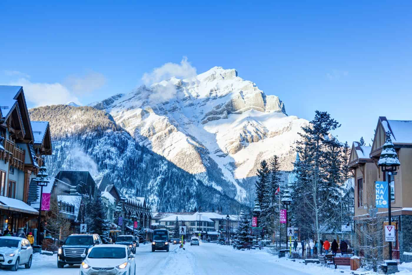 Winter in Banff downtown