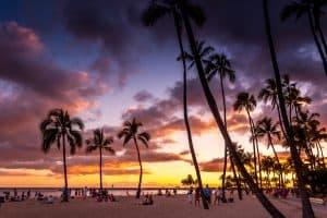 Waikiki Beach sunset at the Hawaiian Hilton Village