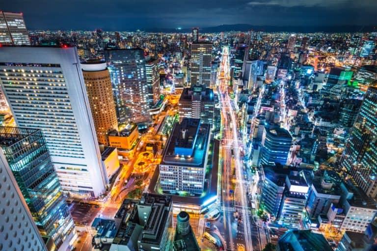 osaka night cityscape japan