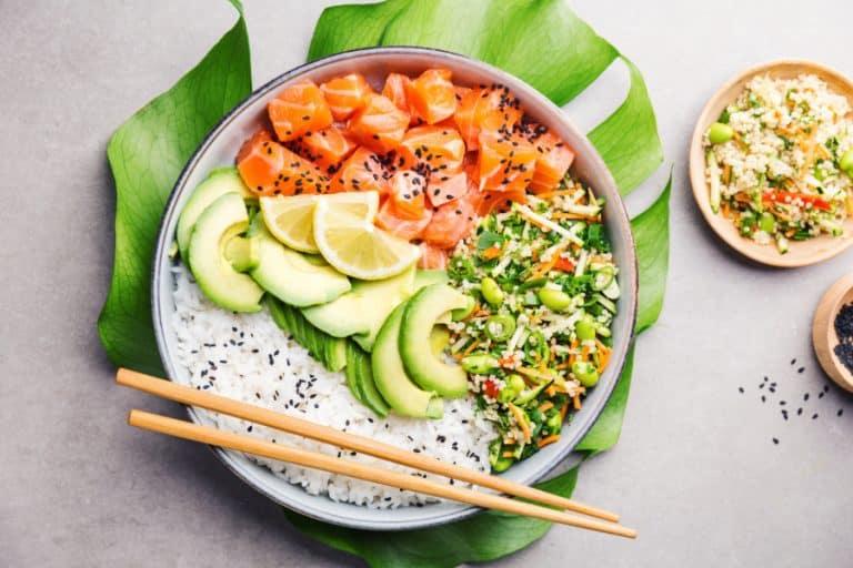 poke bowl with salmon and avocados