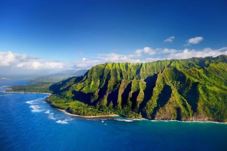 Aerial view of Na Pali coast Kauai