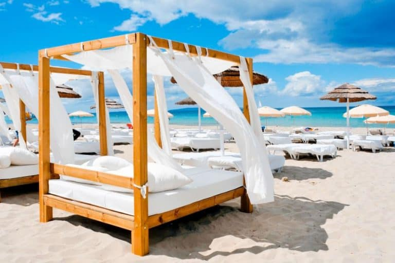 Beds in a beach club in isla mujeres mexico
