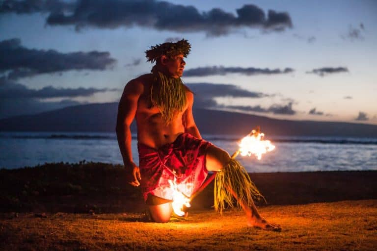 Fire Dancer in Hawaii at night