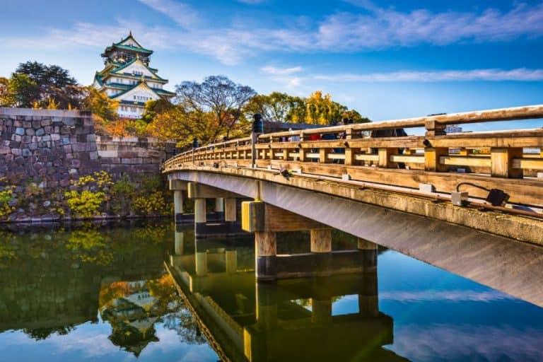 Osaka Castle view from bridge